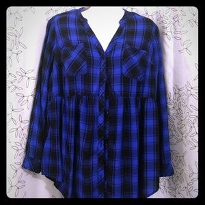 Torrid Blue Black Plaid Babydoll long sleeve tunic